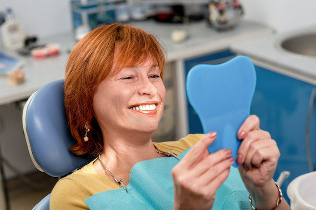 Patient with dental implants